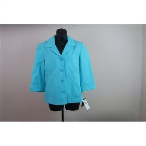 Rafaella womens jacket blazer blue NWT size 14 top